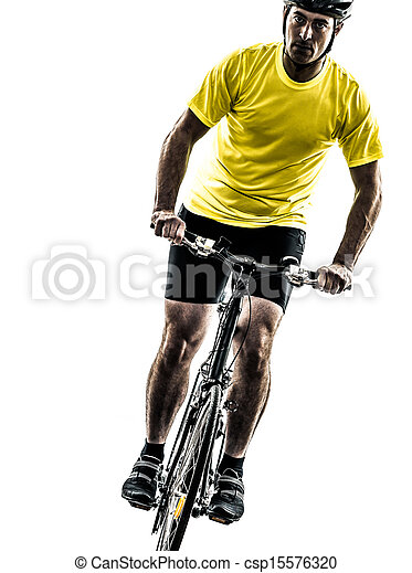 man bicycling  mountain bike silhouette - csp15576320