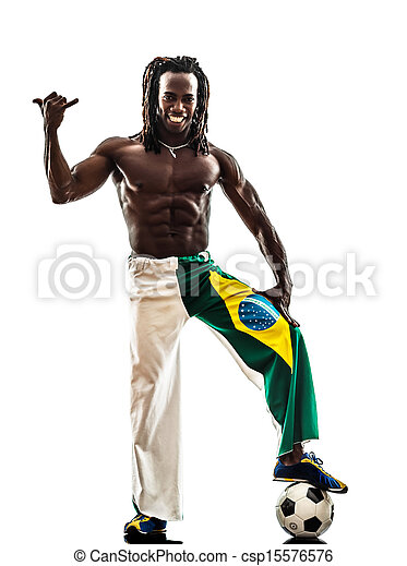 brazilian  black man soccer player - csp15576576