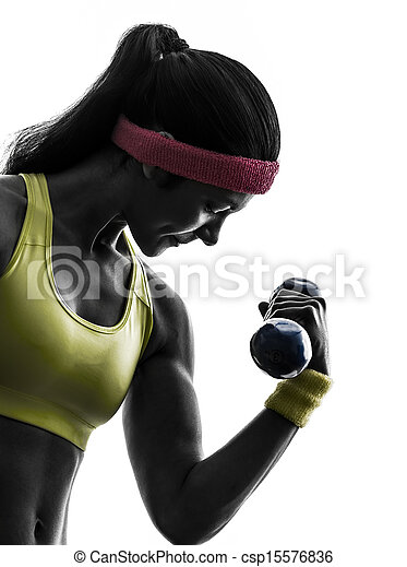 woman exercising fitness workout weight training silhouette - csp15576836