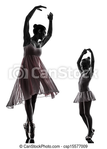 woman and  little girl   ballerina ballet dancer dancing in silhouette on white background - csp15577009