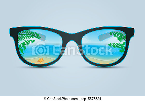 Vector Illustration of Summer sunglasses with beach ...