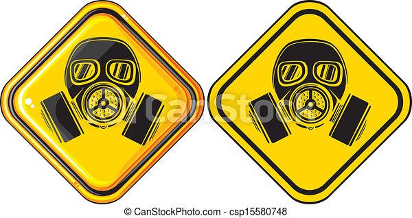 Gas Mask Warning Sign Gas Mask Hazardous Sign