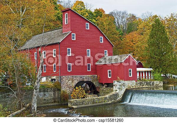 moinho, histórico, vermelho - csp15581260