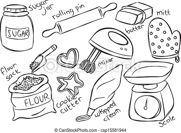 Kitchen utensils clip art pan - Eps Vector Of Baking Stuff Csp15581944 Search Clip Art