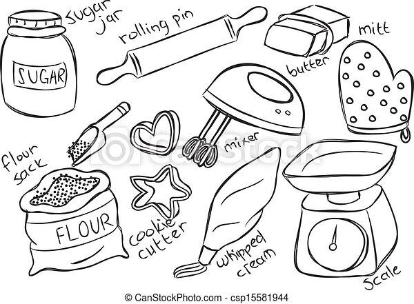 Baking Equipment Drawing Vector Baking Stuff