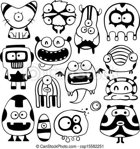 Clipart Vector Of Funny Characters Csp15582251 Search
