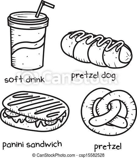food and drink icon in doodle style - csp15582528