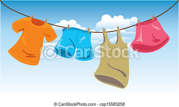 Clipart Vector of clothes on washing line csp15583258 ...