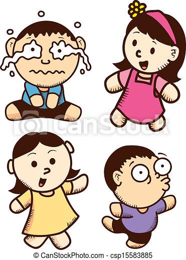 vector set of cute kid cartoon - Kid Cartoon Pictures