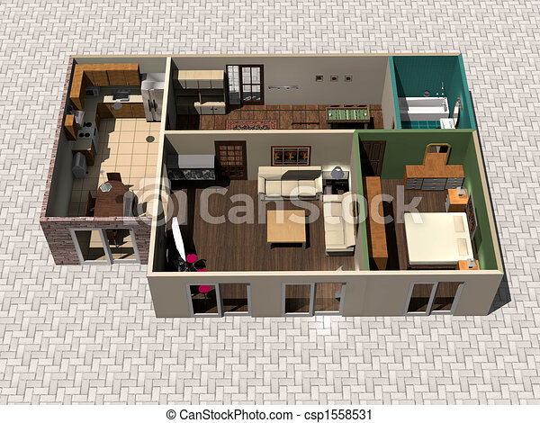 Can Stock Photo Csp1558531 Clipart Of 3d House Plan 3d Rendering House Plan Csp1558531 On Home Plans
