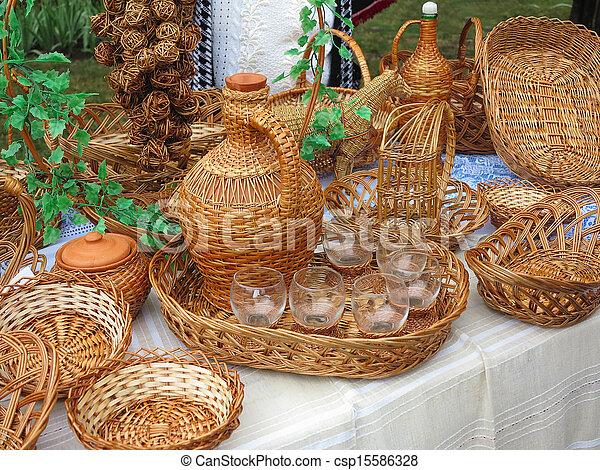 wicker objects, baskets, bottles for sale