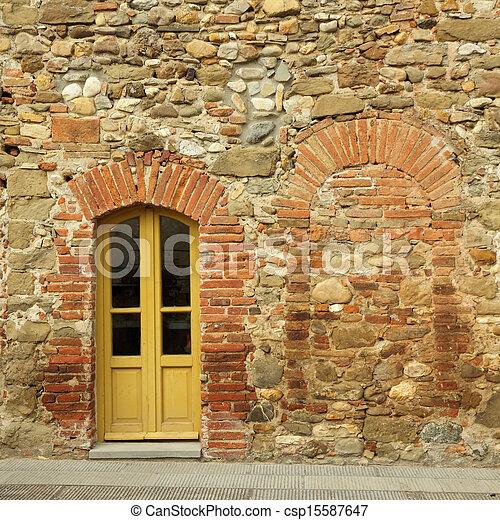 photo de vieux brique pierre mur porte toscan maison. Black Bedroom Furniture Sets. Home Design Ideas