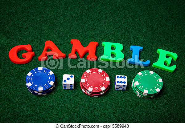 Letters spelling gamble with dice and poker chips.
