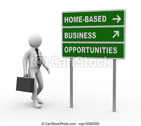3d businessman home based business opportunities roadsign - csp15592350
