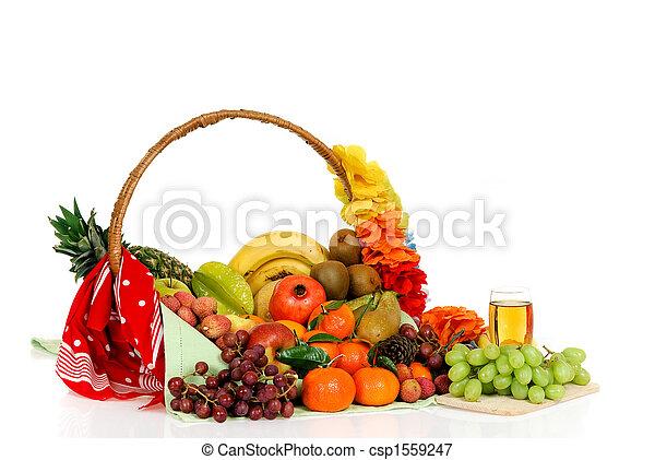 Fruit basket, white grape juice - csp1559247