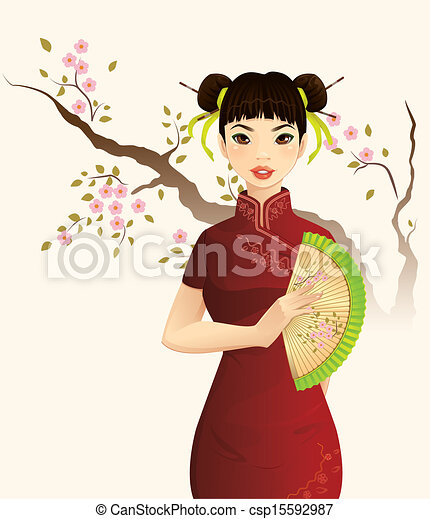 Vector Of Beautiful Chinese Girl Csp15592987 Search Clip