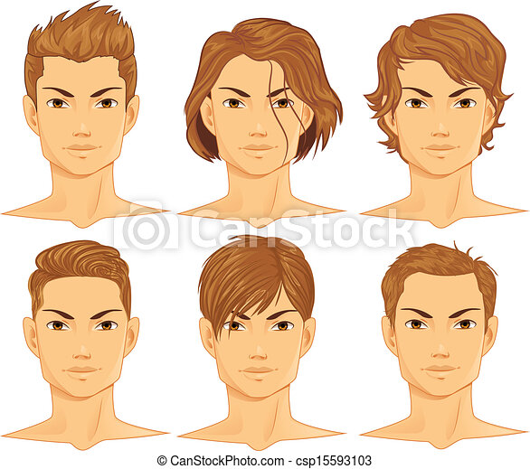 Vector Clipart of Hairstyles Set csp15593103  Search Clip - Anime Male Hairstyles