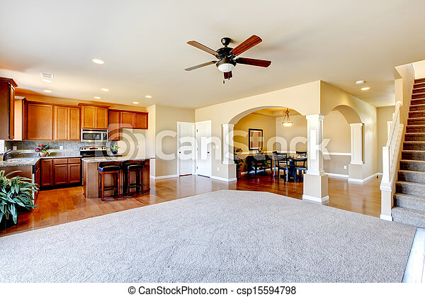 New home kitchen interior and living room interior, - csp15594798