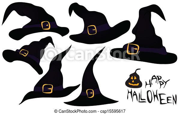 Un, Conjunto, Un, Pocos, Brujas, sombreros, en, negro, y, púrpura, Color, con, hebilla, y, correa, para, Halloween