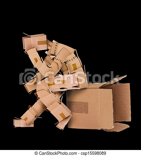 Box man deep thinker - csp15598089