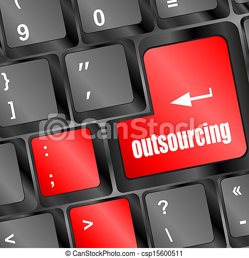 outsourcing button on computer keyboard key - csp15600511