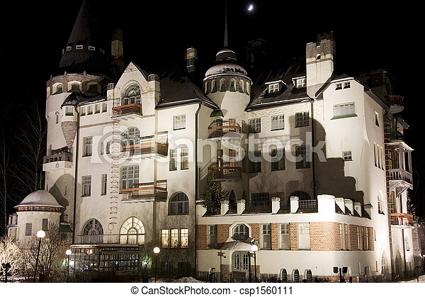 Old jugend castle on a moonlight night.