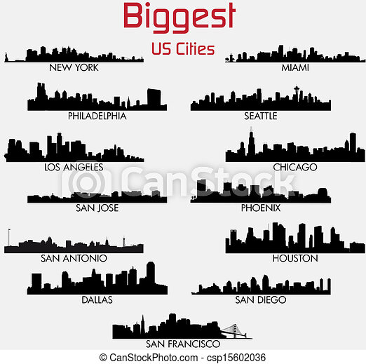 Set of Biggest American cities skylines - csp15602036