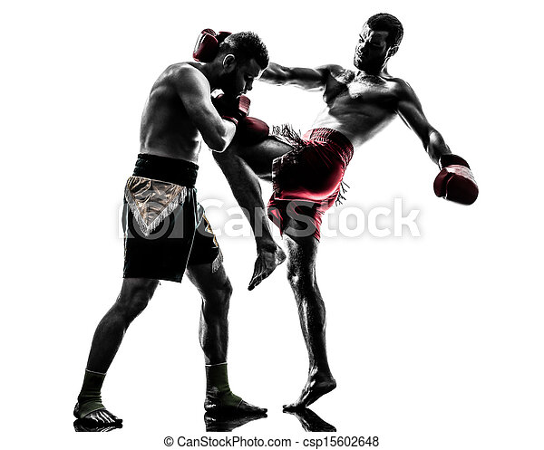 two men exercising thai boxing silhouette - csp15602648
