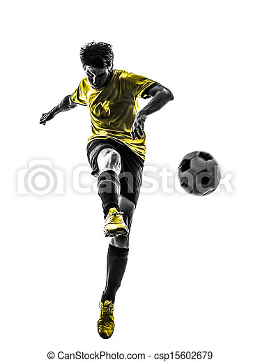 brazilian soccer football player young man kicking silhouette - csp15602679