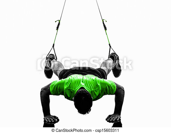 man exercising suspension training  trx silhouette - csp15603311