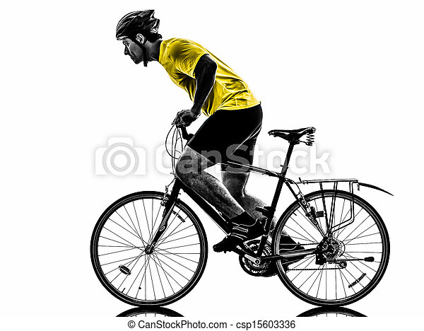 man bicycling  mountain bike silhouette - csp15603336
