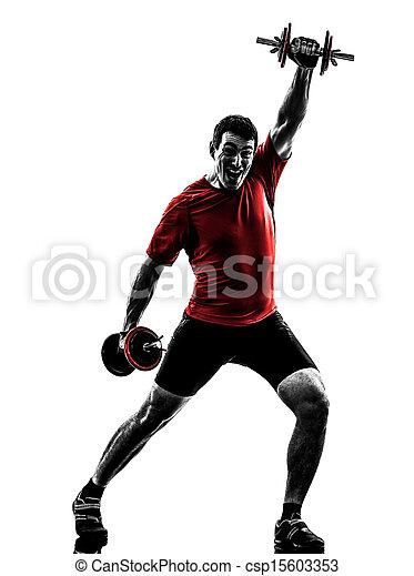 man exercising weight training silhouette - csp15603353