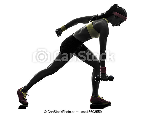 woman exercising fitness workout weight training silhouette - csp15603559