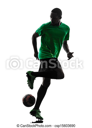 african man soccer player  silhouette - csp15603690