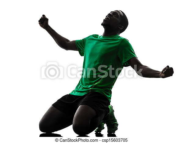 african man soccer player  celebrating victory silhouette - csp15603705