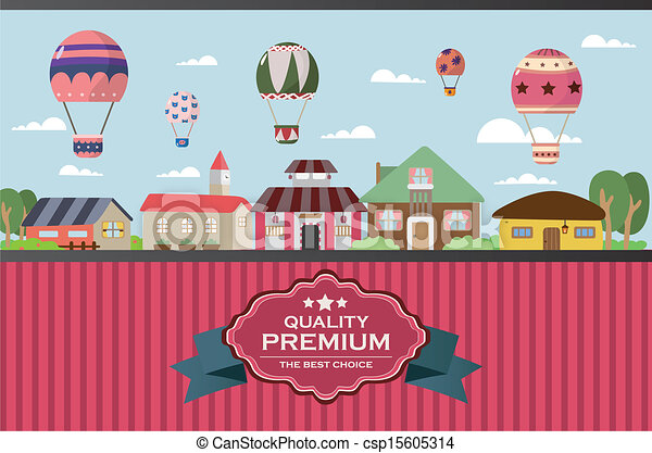 city twon with hot air balloon card - csp15605314
