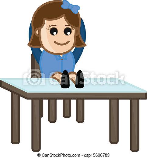 图, 艺术, 卡通漫画, 年轻, 女孩, 坐, 椅子, 办公室, 招待会, 矢量