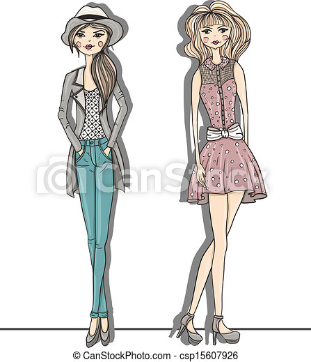 Young fashion girls illustration - csp15607926