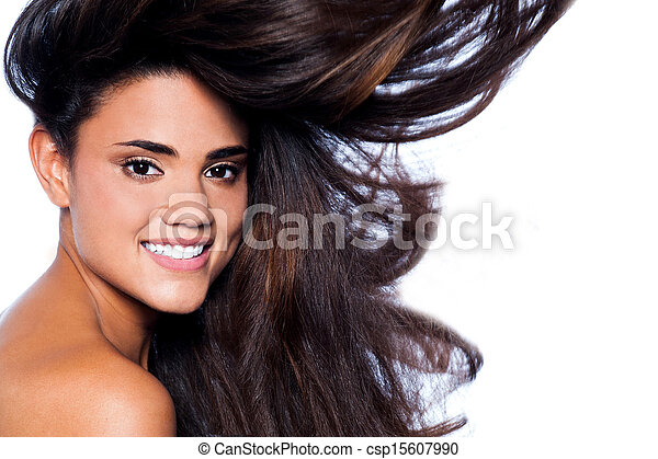 Young woman with beautiful long brown hairs - csp15607990