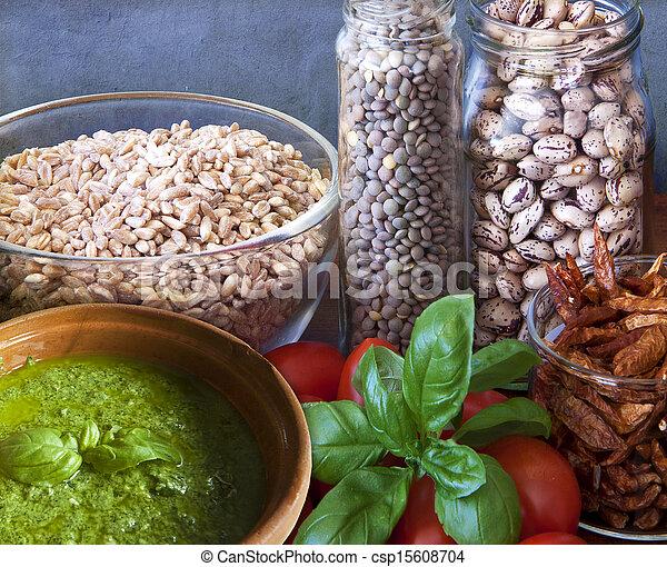 Vegan food, legumes and vegetables - csp15608704