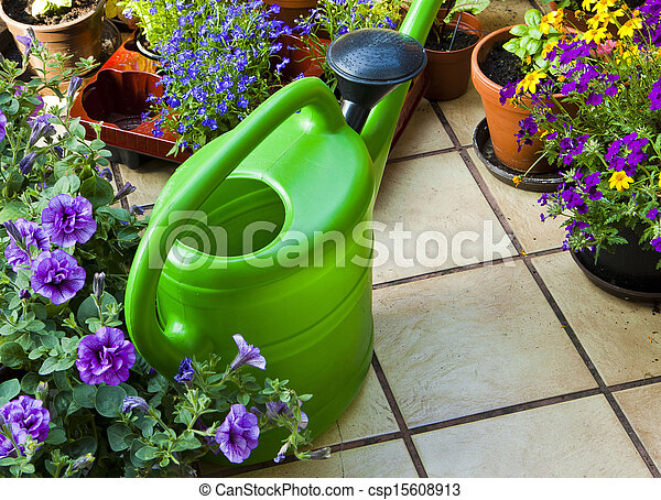 leisure time, gardening on the terrace - csp15608913