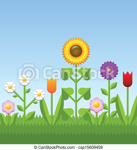 Flower Garden Drawing eps vector of flower garden - vector illstration of a flower