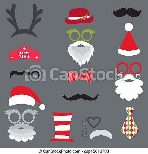 Christmas Retro Party set - Glasses, hats, lips, mustaches, masks - for design, photo booth in vector - csp15610703