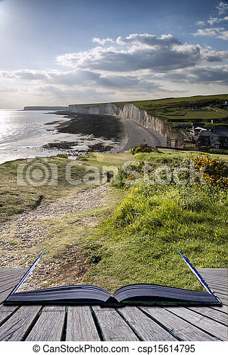 Creative concept pages of book Seven Sisters from Birling Gap Summer evening. - csp15614795