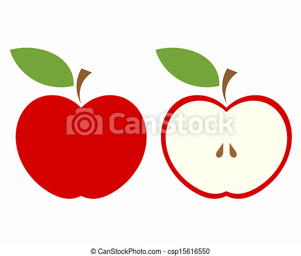 Sliced Apple Drawing Red Apple Cut Clipart Vector