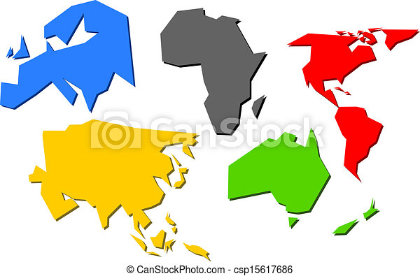 Vector of Olympic world - Continents colored as olympic flag ...