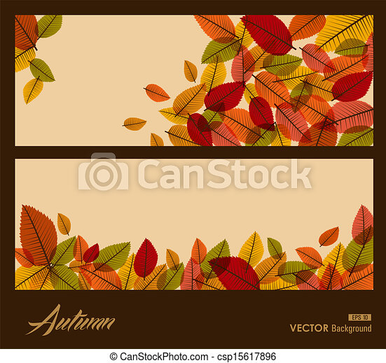 Autumn transparent leaves. Fall season background. EPS10 file. - csp15617896