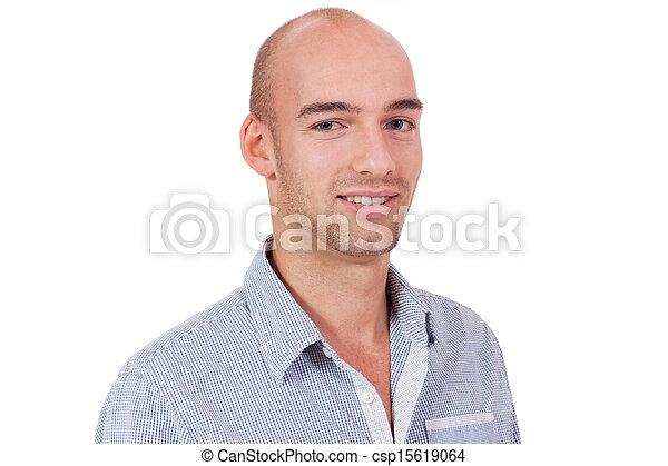 young adult attractive businessman smiling portrait isolated - csp15619064