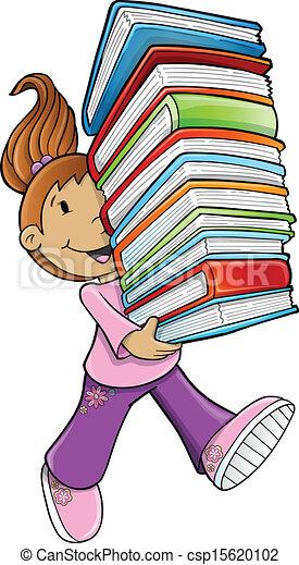 Bücherstapel clipart  Vektor Clipart von m�dchen, tragen, buecher, schueler - Girl ...