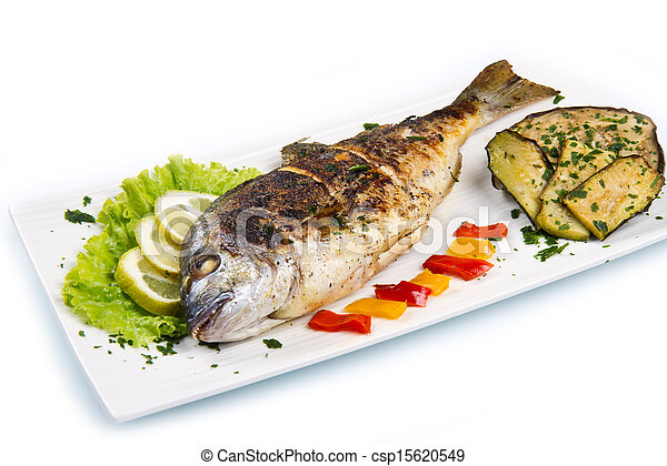 Stock Photo of Grilled gilt head sea bream on plate with lemon salad ...